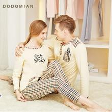 DO DO MIAN Sleepwear Suit For Lovers Cotton Plaid Pijama Set Couple Pyjama Suit Spring Home Clothing Set T shirt+Pants