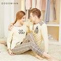 FAÇO MIAN Sleepwear Terno Para Os Amantes 100% Algodão Xadrez Pijama Set Casal Pijama Terno Primavera Conjunto de Roupas de Casa T shirt + Calças