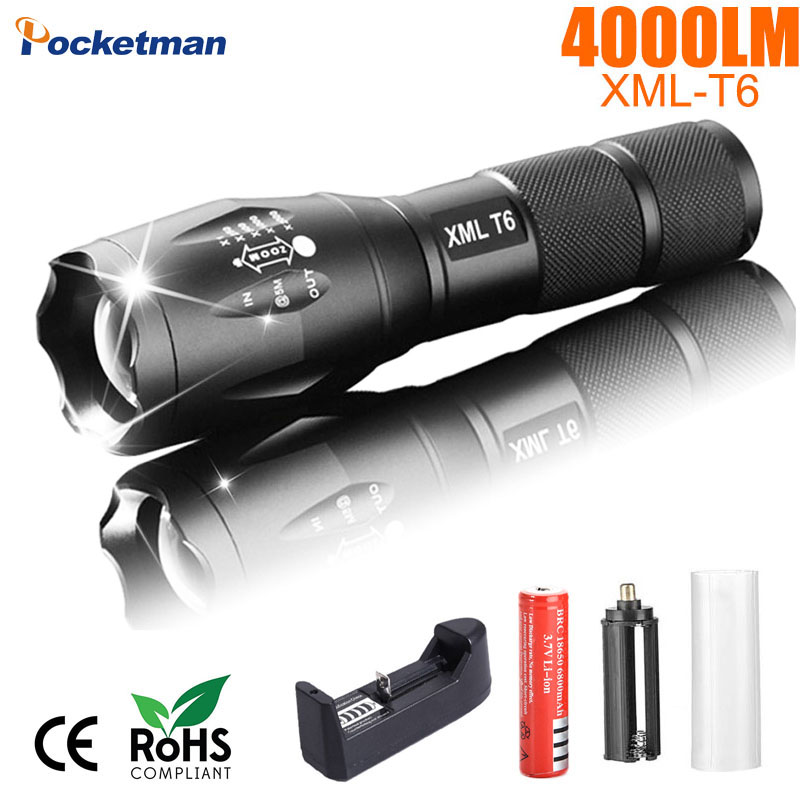 Portable LED Flashlight LED Torch Zoomable Flashlight 4000LM E17 CREE XM-L T6 LED 5 Mode Light For 18650 or 3xAAA Battery Z93 2018 led flashlight 18650 torch waterproof rechargeable xm l t6 4000lm 5 mode led zoomable light for 3x aaa or 3 7v battery