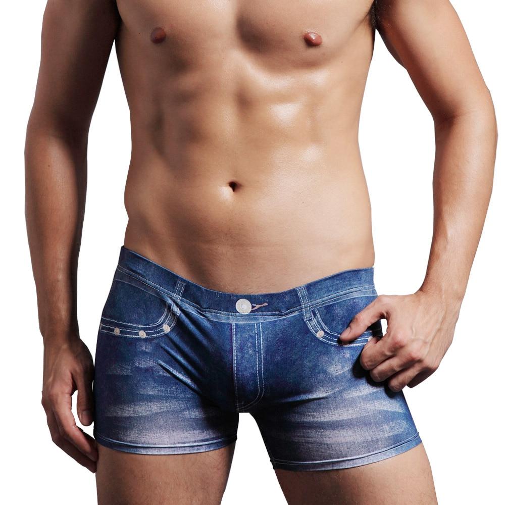 denim boxer four corner fashion personality u convex bag pants waist male DAN1111848A