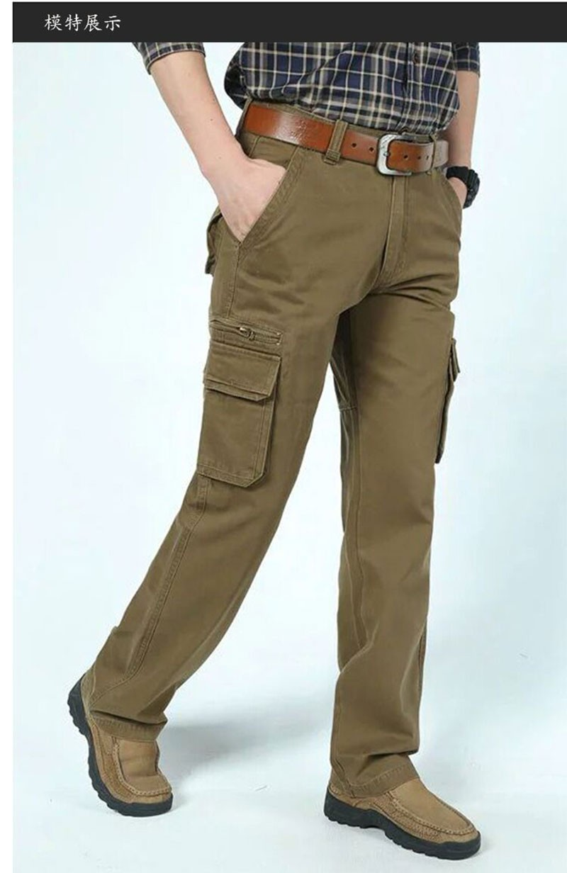 2015 New Autumn Winter Men\'s Cotton Cargo Long Pants High Quality Casual Straight Thick Pants Plus Size Trousers AFS JEEP 30~44 (1)