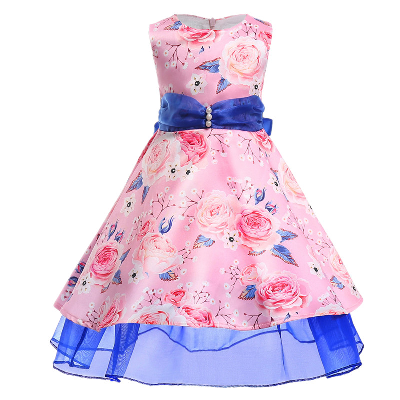 2018 Girls Party Dresses Princess Dress 3-10 Years Kids Floral summer Long Tailing Dresses for Toddler Girls Children Clothing 2 7y princess children girls white lace dress brand new long sleeve toddler kids elegant party dresses one pieces clothing