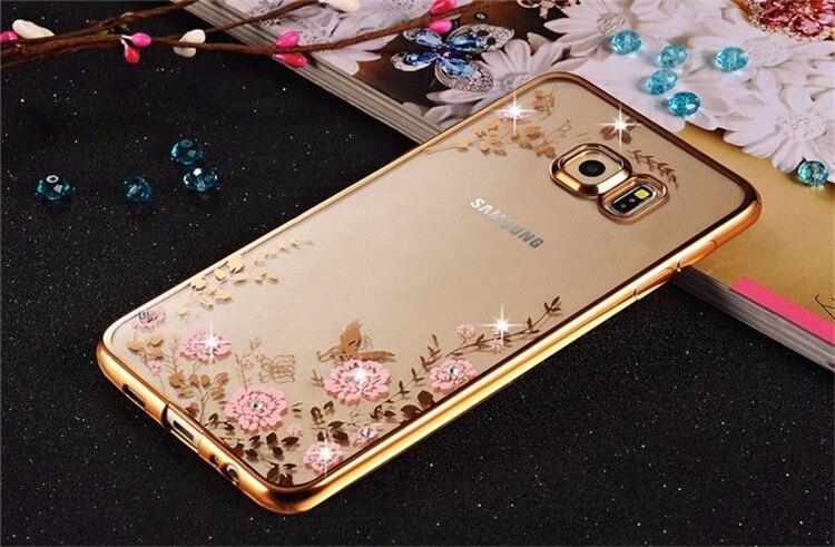 Transparent Soft TPU Plating Rhinestone Flower Case For Samsung Galaxy A3 A5 A7 2016 A8 A9 J3 J5 J7 S3 S4 S6 S7 S6 S7 Edge Plus