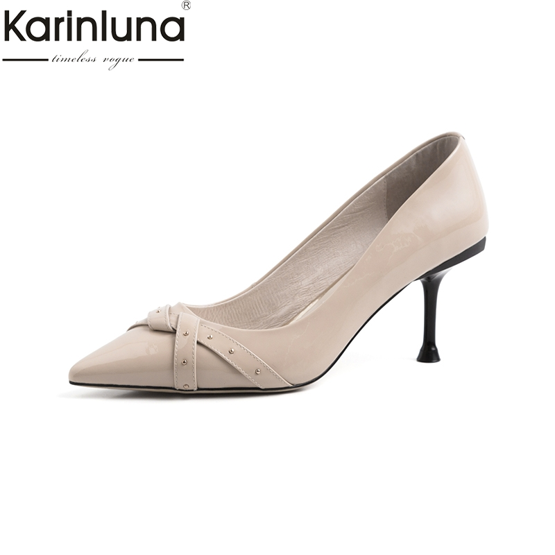 KarinLuna Sexy Thin Heels 2019 Brand New Chic Style Big Size 42 Mature Office Lady Elegant womens Pumps Classics womens ShoesKarinLuna Sexy Thin Heels 2019 Brand New Chic Style Big Size 42 Mature Office Lady Elegant womens Pumps Classics womens Shoes