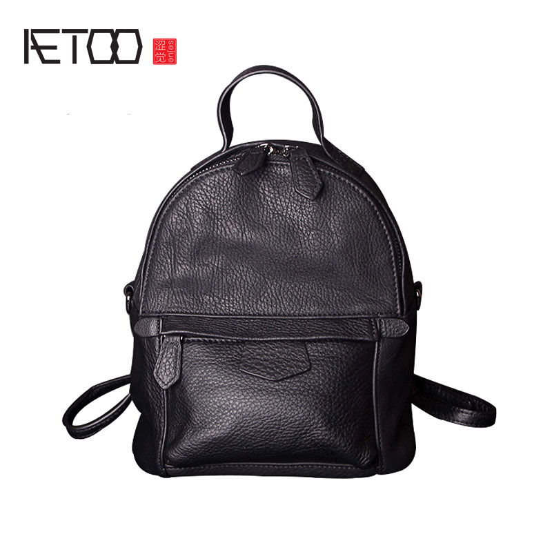 AETOO Dual-use mini-bag female leather shoulder bag multi-functional first layer of leather shoulder bag backpack bag qiaobao 2018 new korean version of the first layer of women s leather packet messenger bag female shoulder diagonal cross bag
