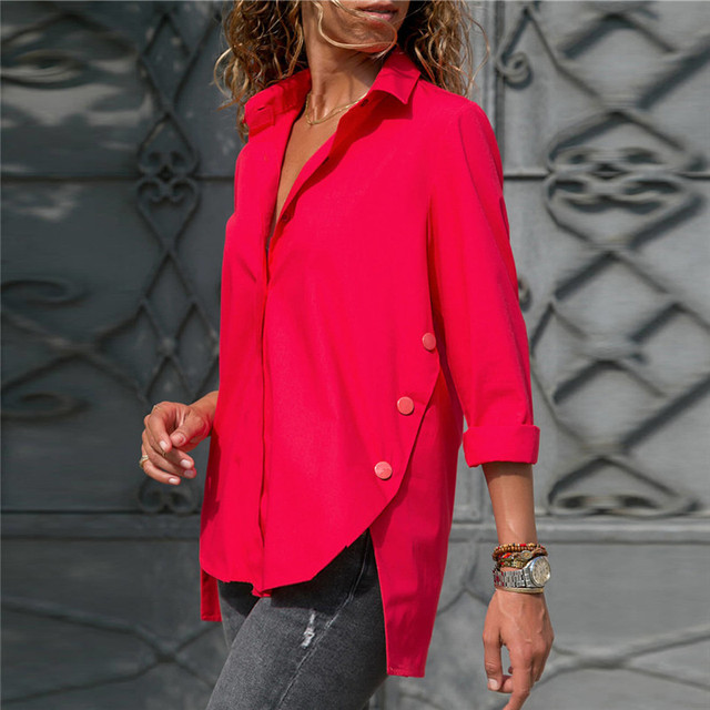 Blouse Shirt 2019 Fashion Women Long Sleeve Blouse Casual Loose White Blouse Elegant Office Ladies Wears Autumn Button Tops Tees