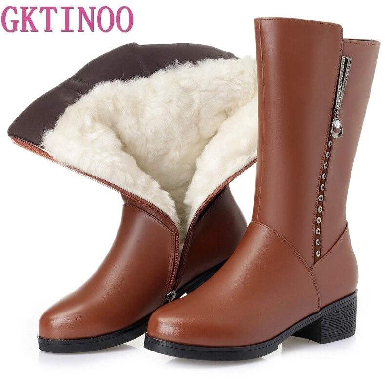 GKTINOO Winter Boots Wool Fur Inside Warm Shoes Women High Heels Soft Leather Shoes Platform Snow Boots Footwear Botas недорого