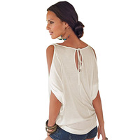 Women Casual T Shirt Sexy Batwing Sleeve Top Summer Basic Female T Shirt Ladies Plus Size