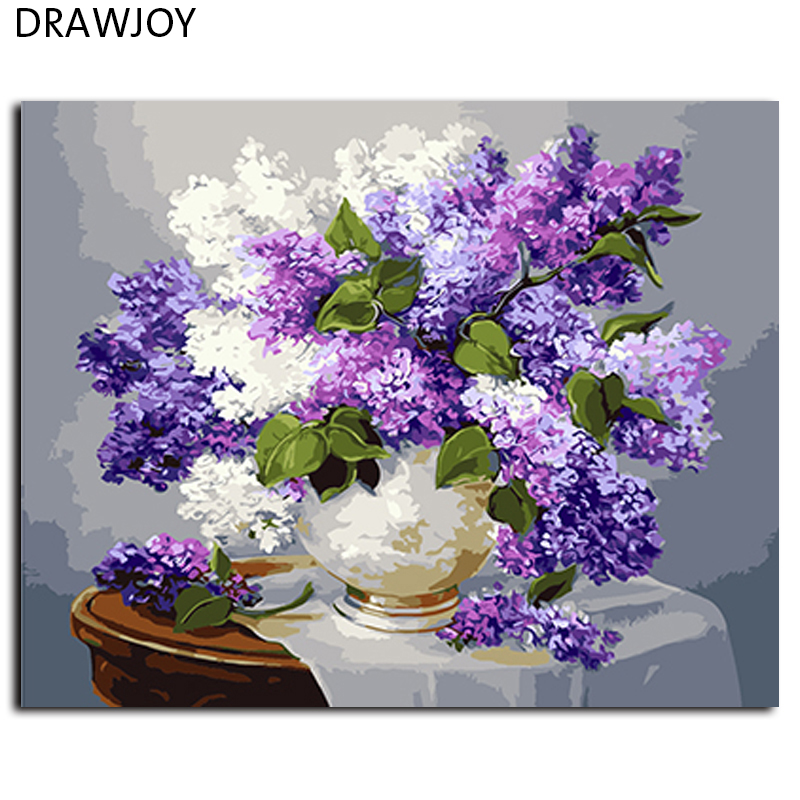 Flower No Frame Pictures Painting By Numbers Home Decor For Living Room DIY Digital Canvas Oil