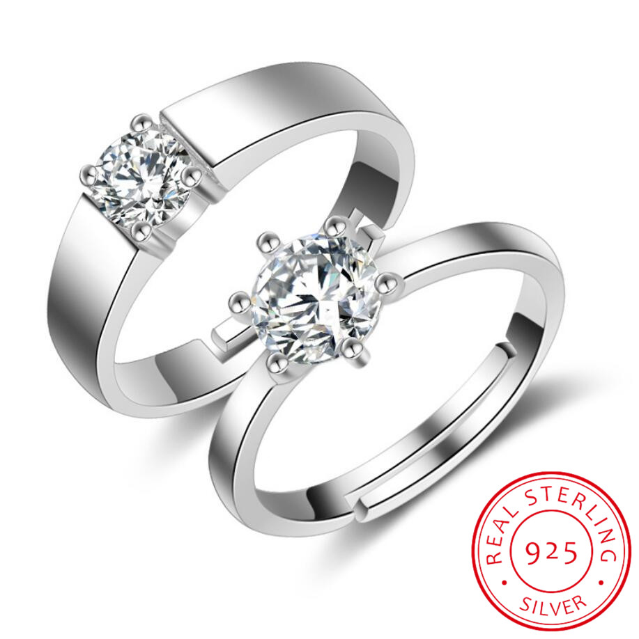 925 Silver Rings For Women Simple Design Double Stackable Fine Jewelry Bridal Sets Wedding Engagement Ring Accessory CC634
