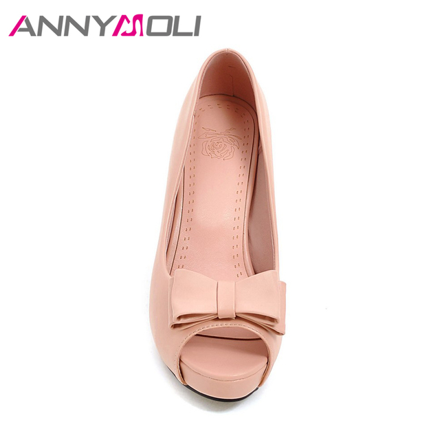 ANNYMOLI Women Pumps High Heels Platform Open Toe Bow Women Party Shoes Peep Toe High Heels luxury Women Shoes Size 43 33 Spring