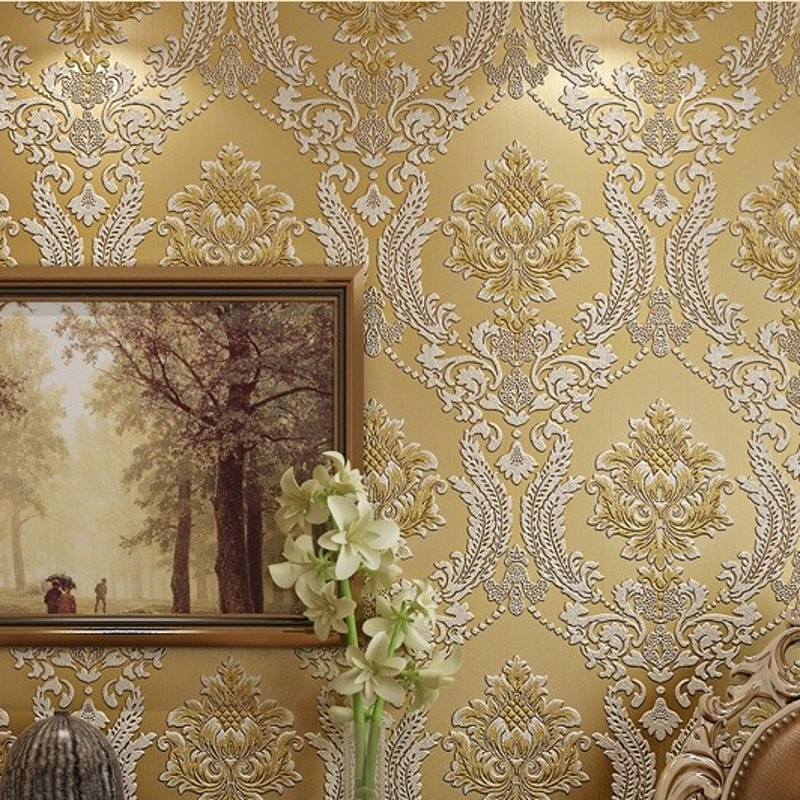 beibehang Wall Paper Home Decor Background Wall Damask Wallpaper Golden Floral Wallcovering 3D velvet Wallpaper Living Room 7 colors optional beige floral wallpaper damask wallpaper pvc wall murals free shipping best wallpaper qz0314