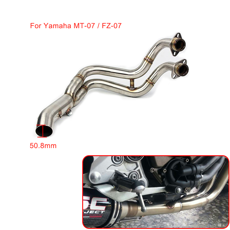 MTCLUB Motorcycle Modified Slip On Exhaust Contact Middle Link Pipe For Yamaha MT-07 FZ-07 MT07 MT 07 FZ 07 2014 2015 2016 2017