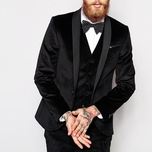2017 Black Velvet Men Wedding Suits Party Dress Mens Suits Tuxedos
