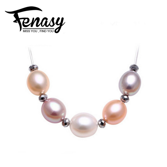 FENASY romantic natural Pearl Pendant,Drop Shape Natural Freshwater Pearl   Necklace Pendant for women,jewelry  With box