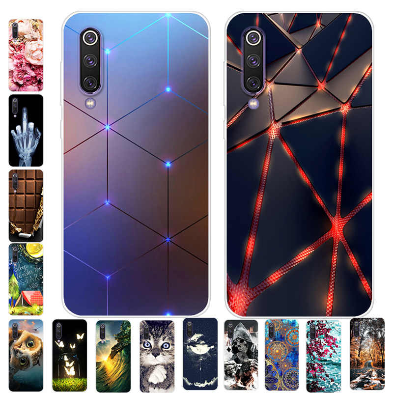 For Xiaomi Mi 9 Case Phone Cover Soft Silicone 3D Printing Back Case Coque for Xiaomi Mi 9 Mi9 SE Cover M9 Shockproof case Cover