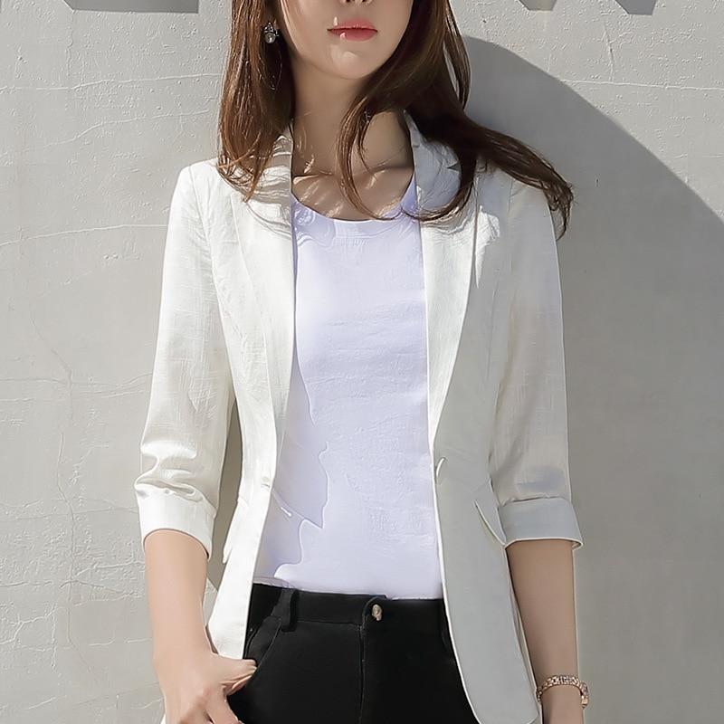 Fmasuth 4XL Plus Size Ladies Blazer Jacket Half Sleeve Summer OL Office Blazer Femme Work Coat AYIJ1802