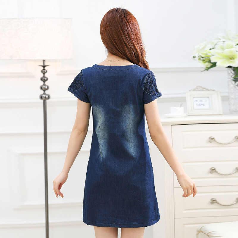 Летнее джинсовое платье 2018 женское джинсовое платье винтажное с коротким рукавом сексуальное офисное женское платье женская одежда Платья vestidos 5XL