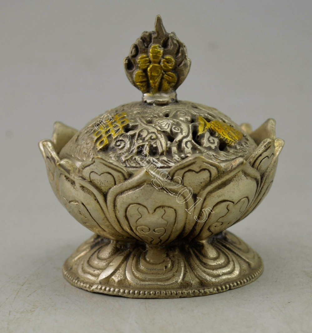 Crafts statue Chinese Decorated Silver Plate Copper Carved Lotus Incense Burner halloweenCrafts statue Chinese Decorated Silver Plate Copper Carved Lotus Incense Burner halloween