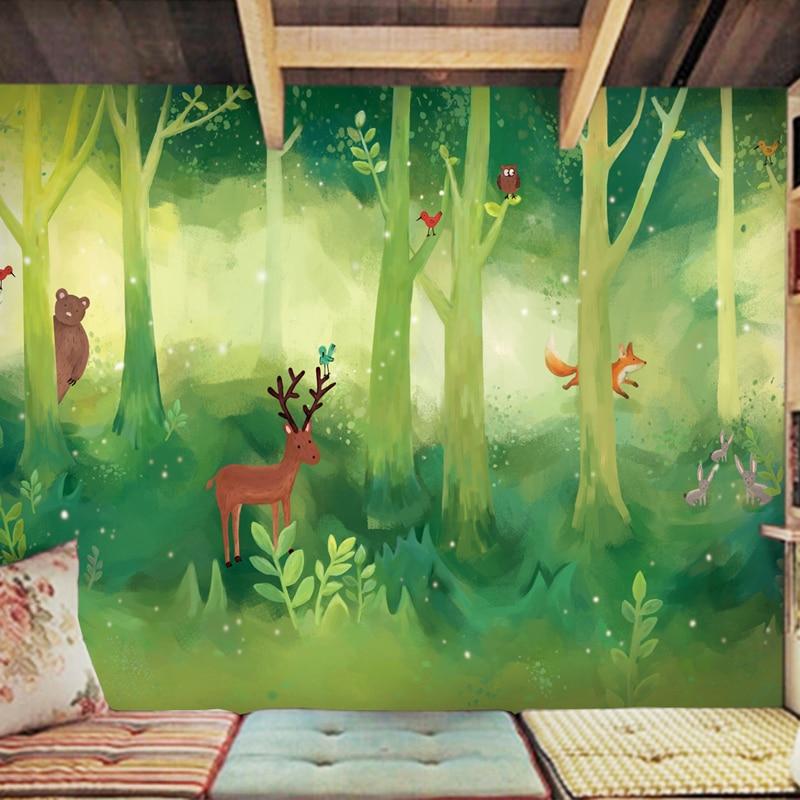 Custom 3d mural Cartoon wallpaper green forest childrens