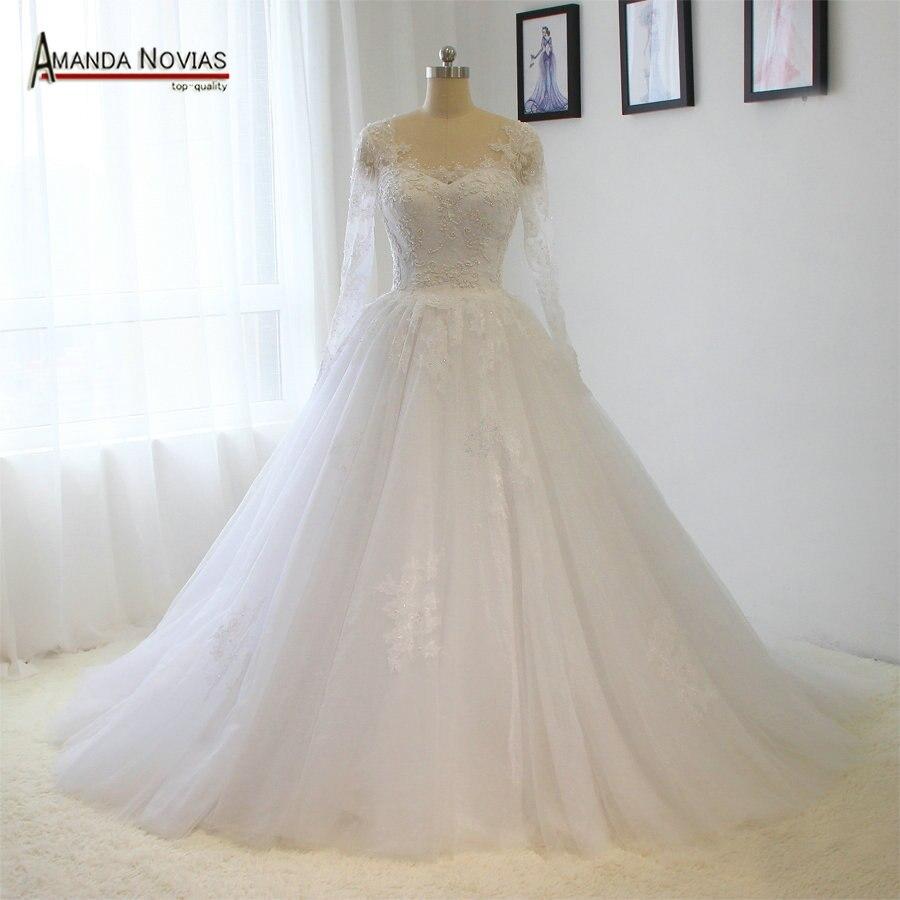 2018 hot sale vestido de noiva princesa Long Sleeve Lace Applique Pearls Wedding Dress