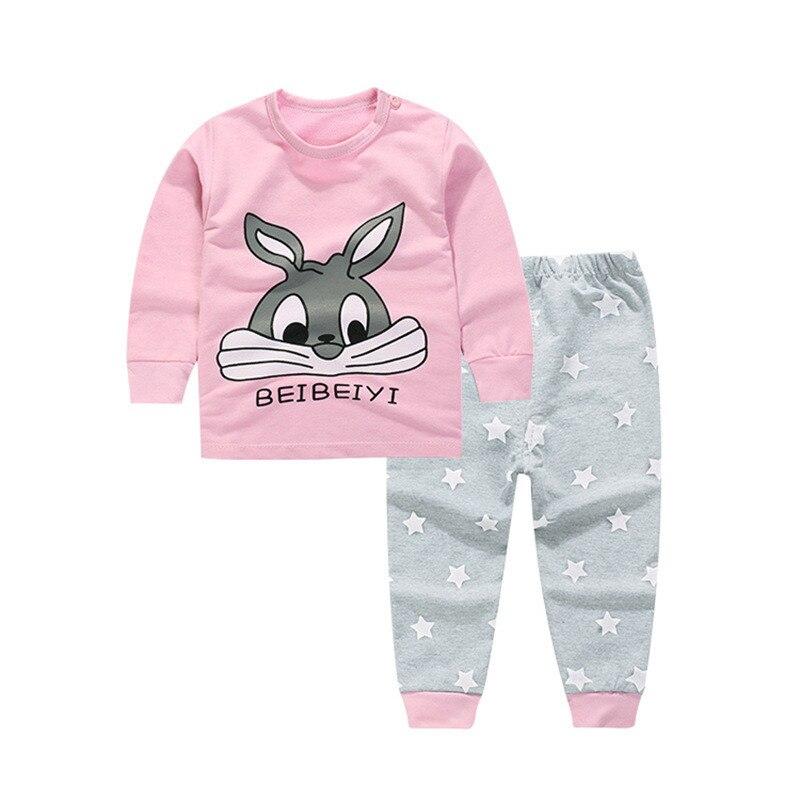 Lollas 2018 New Autumn Baby Boy Clothes Cartoon Clothes Set Cotton Baby Girl Long Shirt Clothing Suit Shirt+Pants Infant Clothes