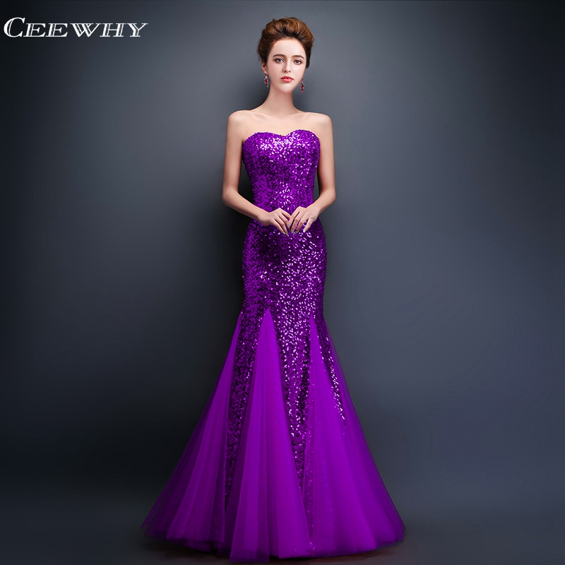 CEEWHY Off Shoulder Floor Length Long   Evening     Dresses   Sequinated Prom   Dresses   Mermaid   Dress   Elegant Formal Gowns Robe de Soiree