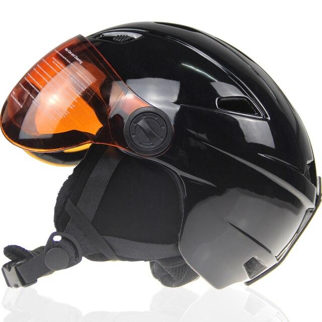 66e932868f000 Marca Preto Capacete Com Óculos De Proteção de Esqui de Inverno Homem Mulher  Crianças