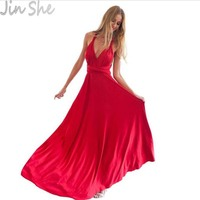 JIN SHE 2017 Summer Sexy Dress Women Red Beach Long Bandage Multiway Convertible Dresses Infinity Wrap