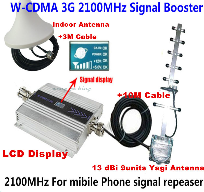 13dbi Yagi+ LCD Display 3G Repeater Full Set! Cell Phone WCDMA/ 3g 2100mhz SIGNAL BOOSTER REPEATER WCDMA SIGNAL AMPLIFIER