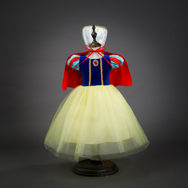 Fashion dress + cape + headband gift for children birthday party snow white fancy costume