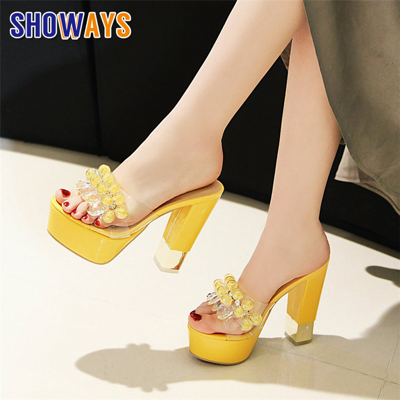 Rhinestone Women Platform Slides High Chunky Heel Clear PVC Peep Toe Slippers Causal Party Crystal Summer