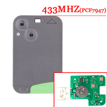 Free shipping 2 Button 433MHZ  pcf7947 chip remote card  for Renault Laguna Espace Velsatis card without logo  (1piece)