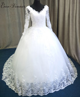C.V Custom Made Wedding Dress 2017 Puffy Ball Gown Lace Beaded Applique White Long Sleeve Arabic Wedding Gowns Robe De Mariage