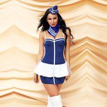 563ea744bcd MQUPIN vestido de azafata de vuelo Sexy para mujeres de lujo Club Cosplay  disfraz ropa de fiesta de noche caliente para adultos .