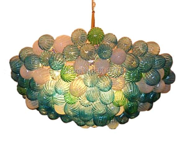 High Ceiling Antique Hand Blown Glass Chandelier Light
