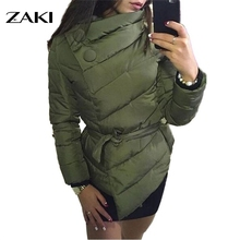 new winter women Sashes Down Jacket coat asymmetric irregularity high collar with belt parkas for outerwear coats duvet jacket