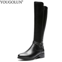Motorcycle Knee High Boots Women Autumn Leather Fashion Lady Square Heels A248 Woman Black Round Toe Buckle Zipper Winter Shoes