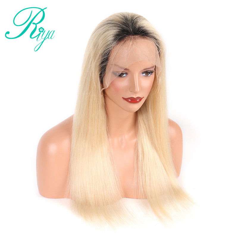 Modest Riya Hair Brazilian Silky Straight Lace Front Wig Remy Hair Ombre 1b/613 Human Hair Wig With Baby Hair And Hairline Lace Wigs