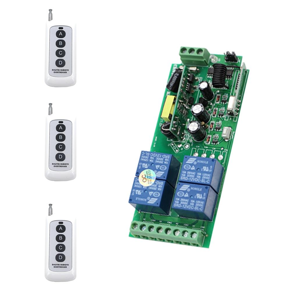 315Mhz 433Mhz AC85V 110V 220V 250V RF 4CH Wireless Remote Lighting Switch 3*Digital Remote Controller & Receiver Module Hot Sale 2017 new digital remote control switch 220v wifi light schakelaar 4 way 110v 250v ac input 10a rf 433 92 mhz controler
