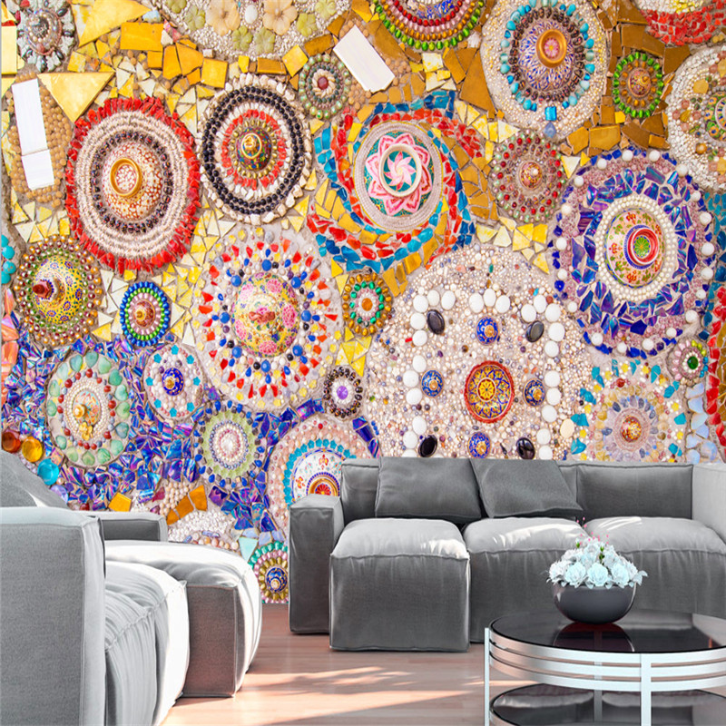 Customized Large Mural Mosaic Tile Brick Pattern American Retro Abstract 3d Wallpaper For Living Room Tv Backdrop 3d Wall Paper By Scientific Process Home Improvement Wallpapers