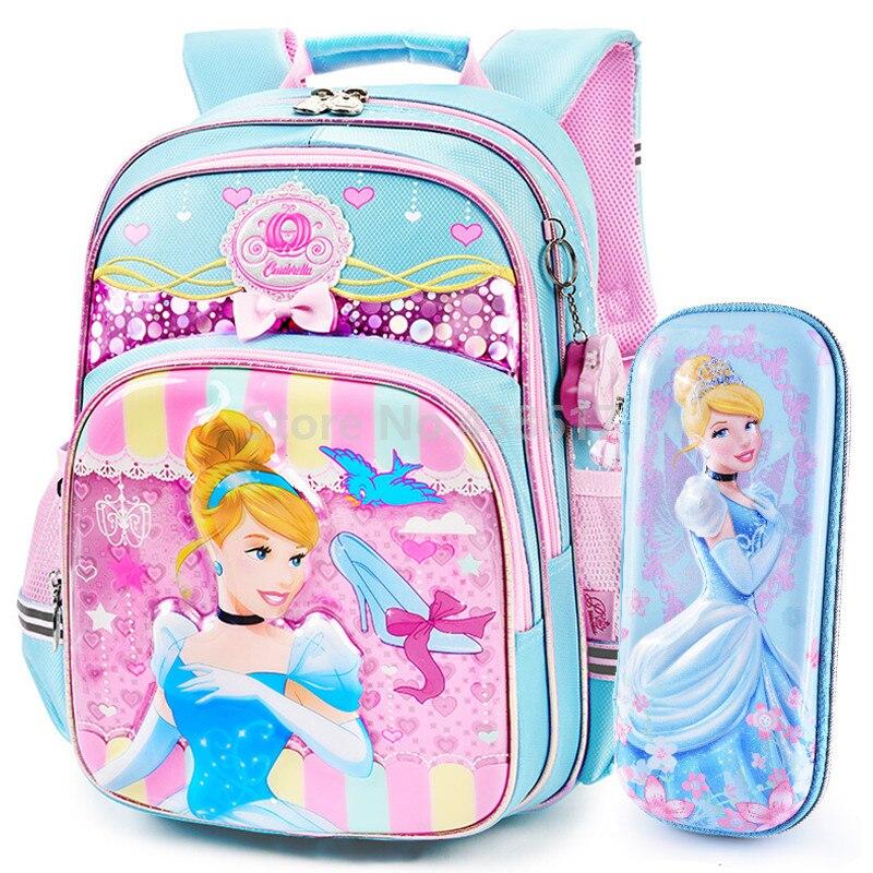 """Princess Cinderella Belle Aurora Rapunzel 12/"""" Toddler Rolling School Backpack"""