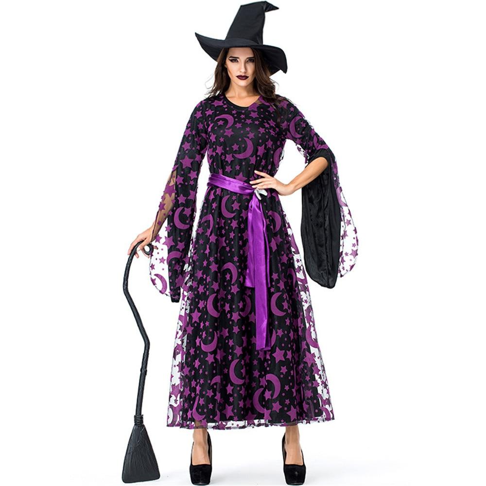 Cosplay Halloween carnival purim costume purple star moon magic witch devil vampire dress / hat for women fancy dress party set