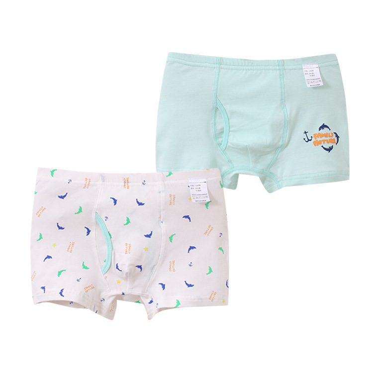 Cute Boxers Underwear Printing Breathable Cotton 2pcs/Lot Straight-Angle-Pants Boy Children's
