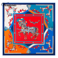 Voneyesa 130cm 130cm Large Square Scarves Twill Shawls New Silk Scarf For Women Horse Printed Square