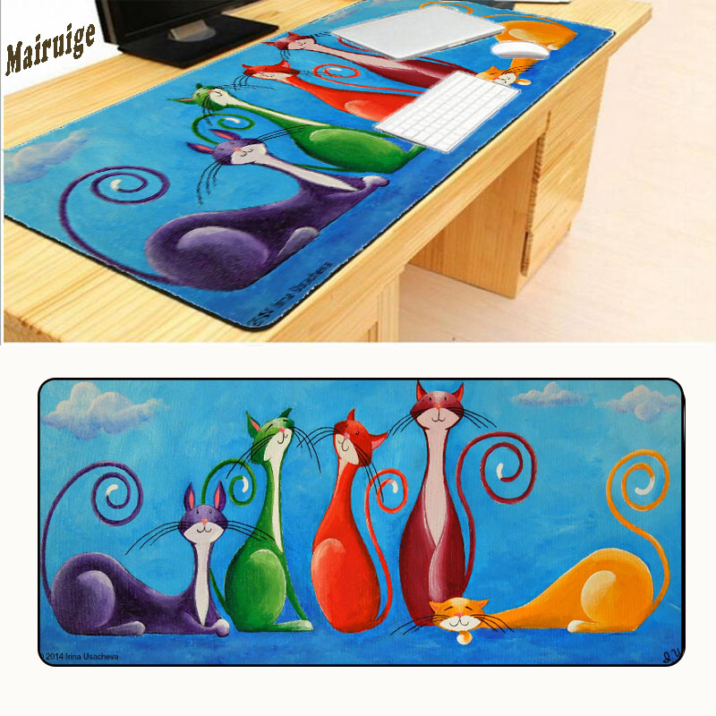 Mairuige Lovely Cat Art Free Shipping 900x400x3mm Notbook Computer Large Overlock Mouse Pad Gaming Padmouse Gamer for Boy Gift