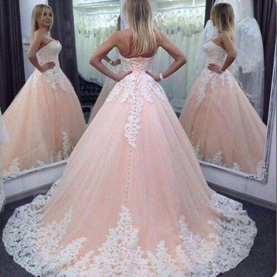 hermoso coral tul blanco vestidos de novia de encaje apliques de