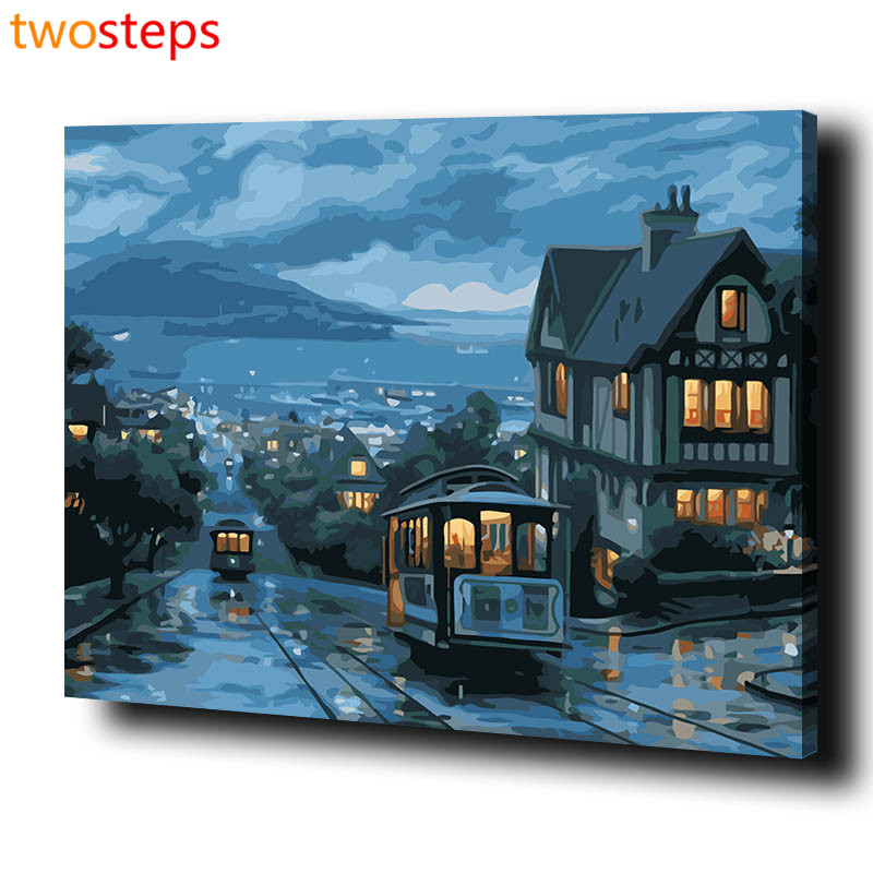 twosteps diy digital canvas oil painting by numbers framed coloring by numbers large acrylic paint by number kits night scene