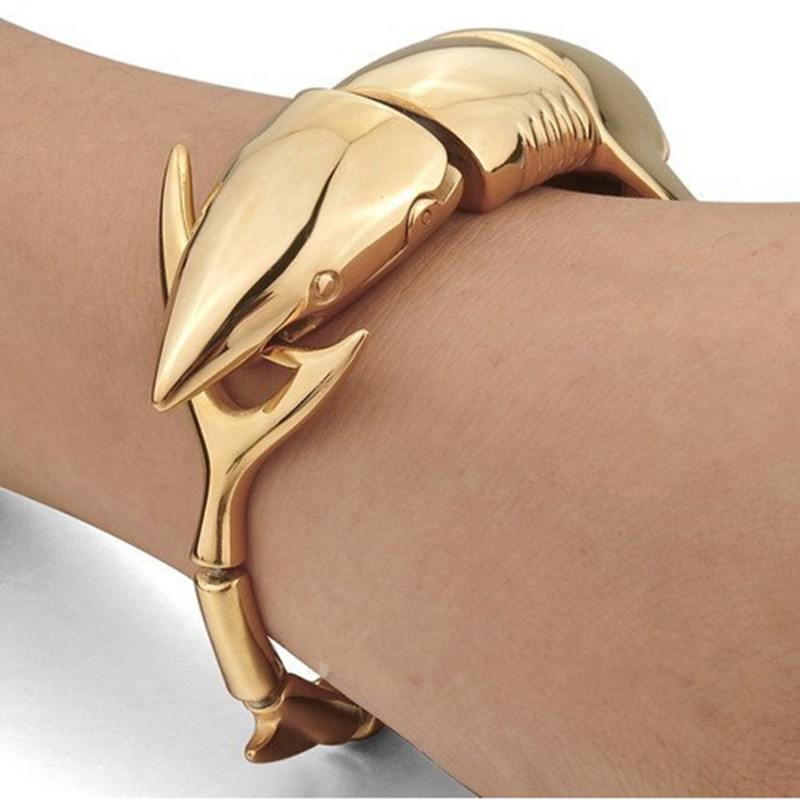 """Fin Bite"" Steel Shark Bracelet Gold / Silver 3"