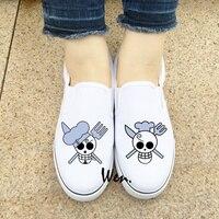 Wen Design Custom White Black Slip On Shoes Anime One Piece Sanji Jolly Roger Unisex Canvas